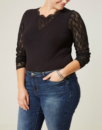 Long Sleeve Body - pattern: plain; predominant colour: black; occasions: evening; length: standard; neckline: collarstand & mandarin with v-neck; fibres: viscose/rayon - stretch; fit: body skimming; sleeve length: long sleeve; sleeve style: standard; texture group: jersey - clingy; pattern type: fabric; embellishment: lace; style: bodysuit; season: a/w 2016; wardrobe: event