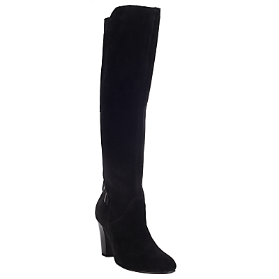 Telsa Cone Heel Knee Boots, Black - predominant colour: black; occasions: casual, creative work; material: suede; heel height: high; heel: cone; toe: round toe; boot length: over the knee; style: standard; finish: plain; pattern: plain; wardrobe: investment; season: a/w 2016