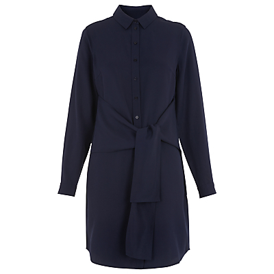 Wrap Tie Health Dress, Navy - style: shirt; length: mid thigh; neckline: shirt collar/peter pan/zip with opening; pattern: plain; waist detail: belted waist/tie at waist/drawstring; predominant colour: navy; occasions: casual, creative work; fit: straight cut; fibres: viscose/rayon - 100%; sleeve length: long sleeve; sleeve style: standard; texture group: crepes; pattern type: fabric; wardrobe: basic; season: a/w 2016