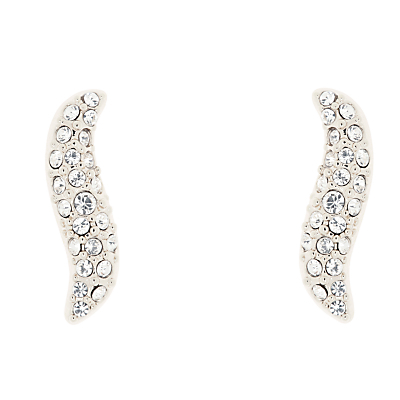 Swarovski Crystal Pave Wave Earrings - predominant colour: silver; occasions: evening, occasion; style: stud; length: mid; size: standard; material: chain/metal; fastening: pierced; finish: metallic; embellishment: crystals/glass; season: a/w 2016; wardrobe: event