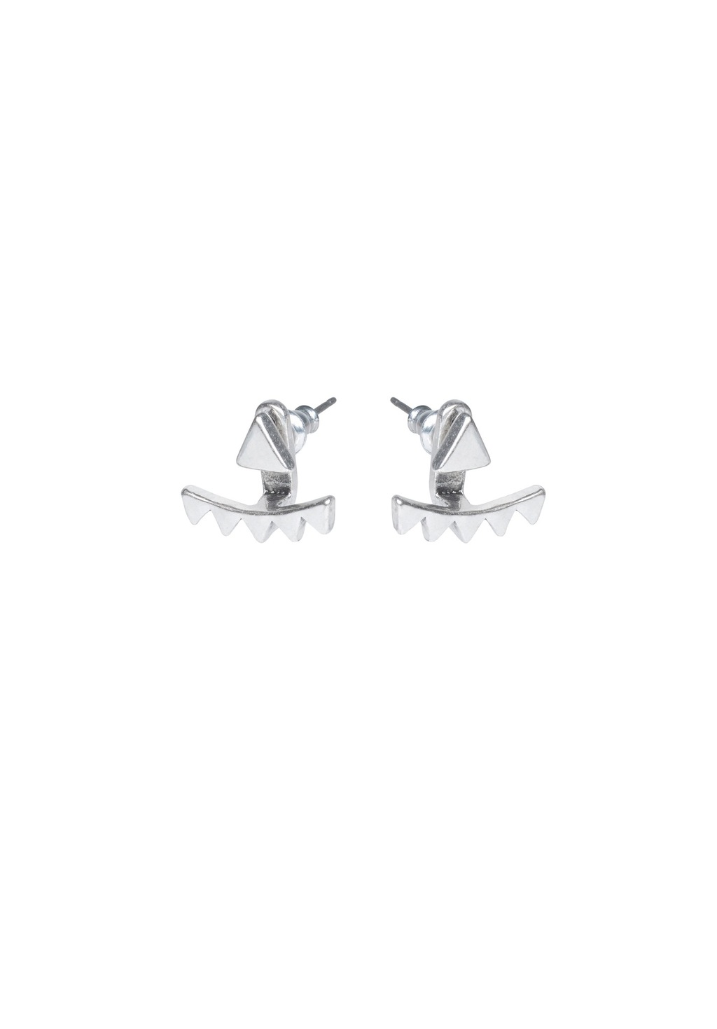 Triangle Stud Ear Cuffs - predominant colour: silver; occasions: casual, creative work; style: stud; length: short; size: small/fine; material: chain/metal; fastening: pierced; finish: metallic; wardrobe: basic; season: a/w 2016