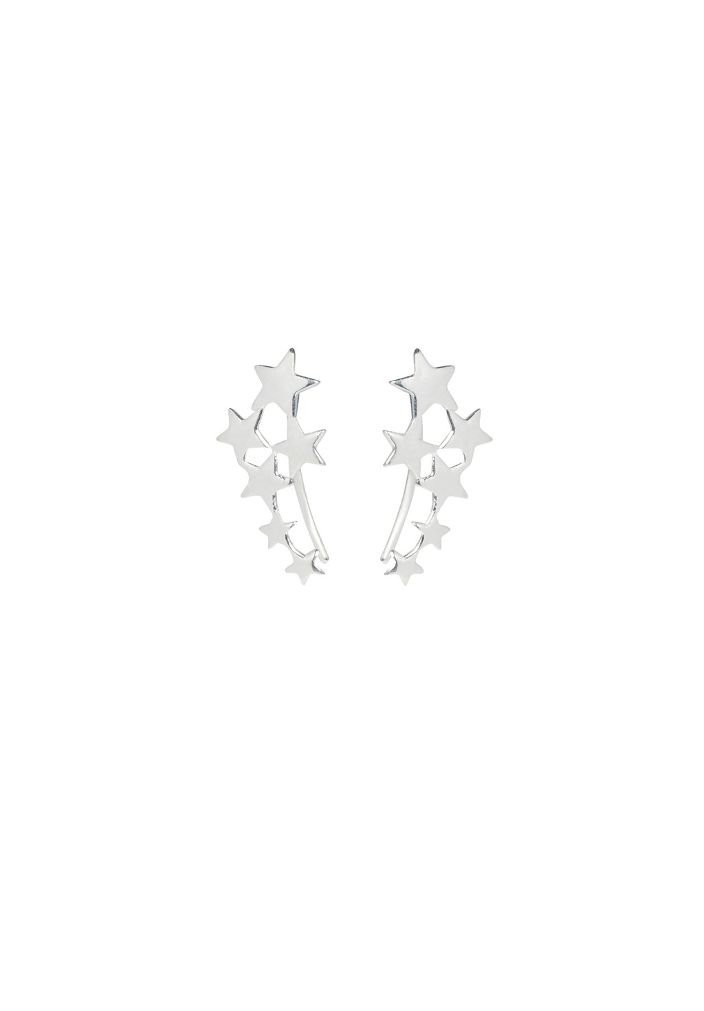 Scatter Star Ear Hooks - predominant colour: silver; occasions: casual, evening, creative work; length: short; size: small/fine; material: chain/metal; fastening: pierced; finish: metallic; style: ear cuffs; season: a/w 2016; wardrobe: highlight