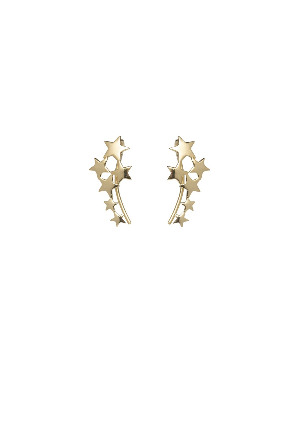 Scatter Star Ear Hooks - predominant colour: gold; occasions: casual, creative work; length: long; size: standard; material: chain/metal; fastening: pierced; finish: metallic; style: ear cuffs; season: a/w 2016; wardrobe: highlight