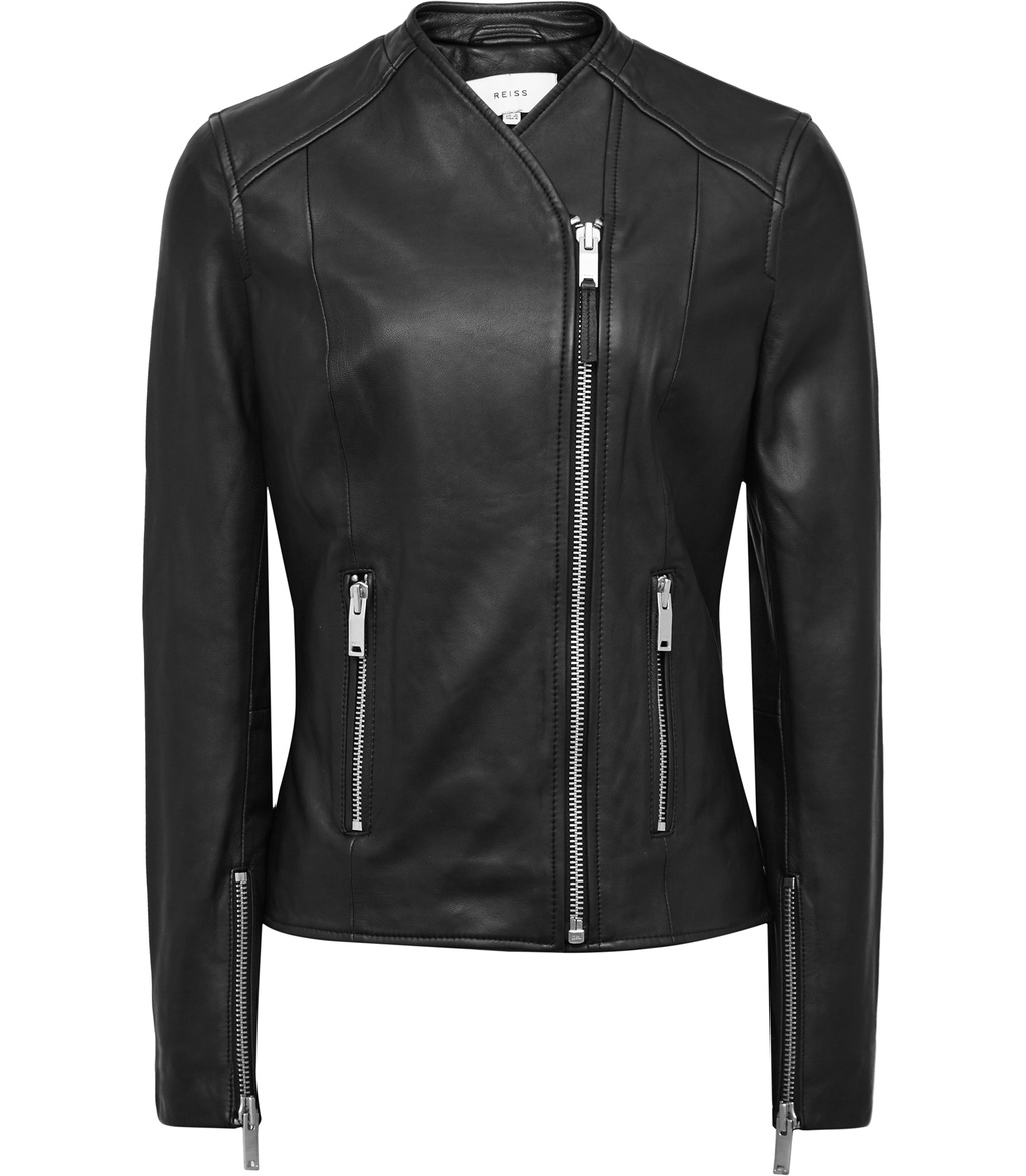 Rivington Womens Collarless Leather Jacket In Black - pattern: plain; style: biker; collar: round collar/collarless; fit: slim fit; predominant colour: black; occasions: casual; length: standard; fibres: leather - 100%; sleeve length: long sleeve; sleeve style: standard; texture group: leather; collar break: high; pattern type: fabric; wardrobe: basic; season: a/w 2016