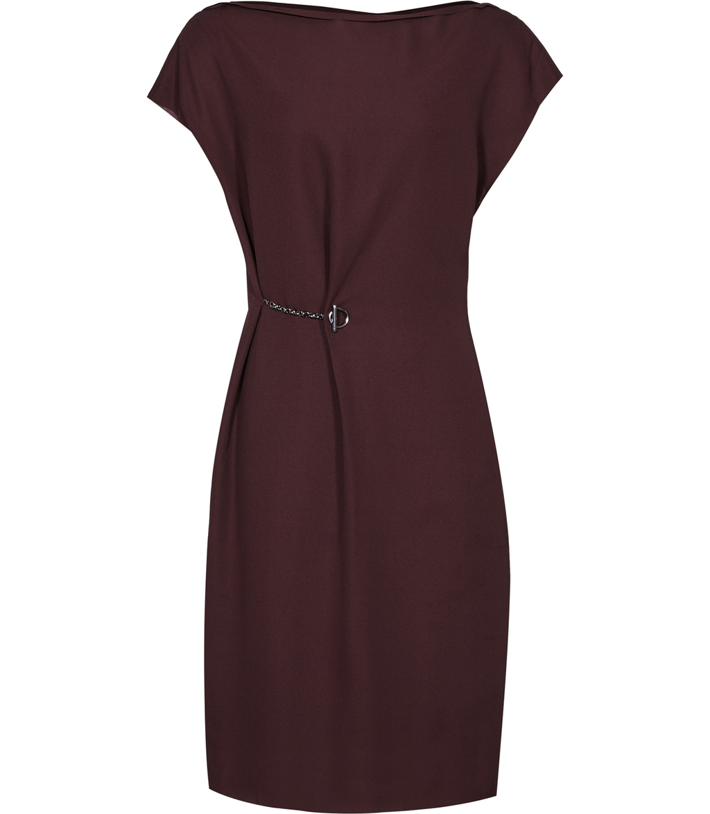 Baye Womens Chain Detail Dress In Red - style: shift; neckline: slash/boat neckline; sleeve style: capped; fit: tailored/fitted; pattern: plain; waist detail: embellishment at waist/feature waistband; predominant colour: burgundy; occasions: evening, occasion; length: just above the knee; fibres: polyester/polyamide - mix; sleeve length: short sleeve; texture group: sheer fabrics/chiffon/organza etc.; pattern type: fabric; embellishment: chain/metal; season: a/w 2016