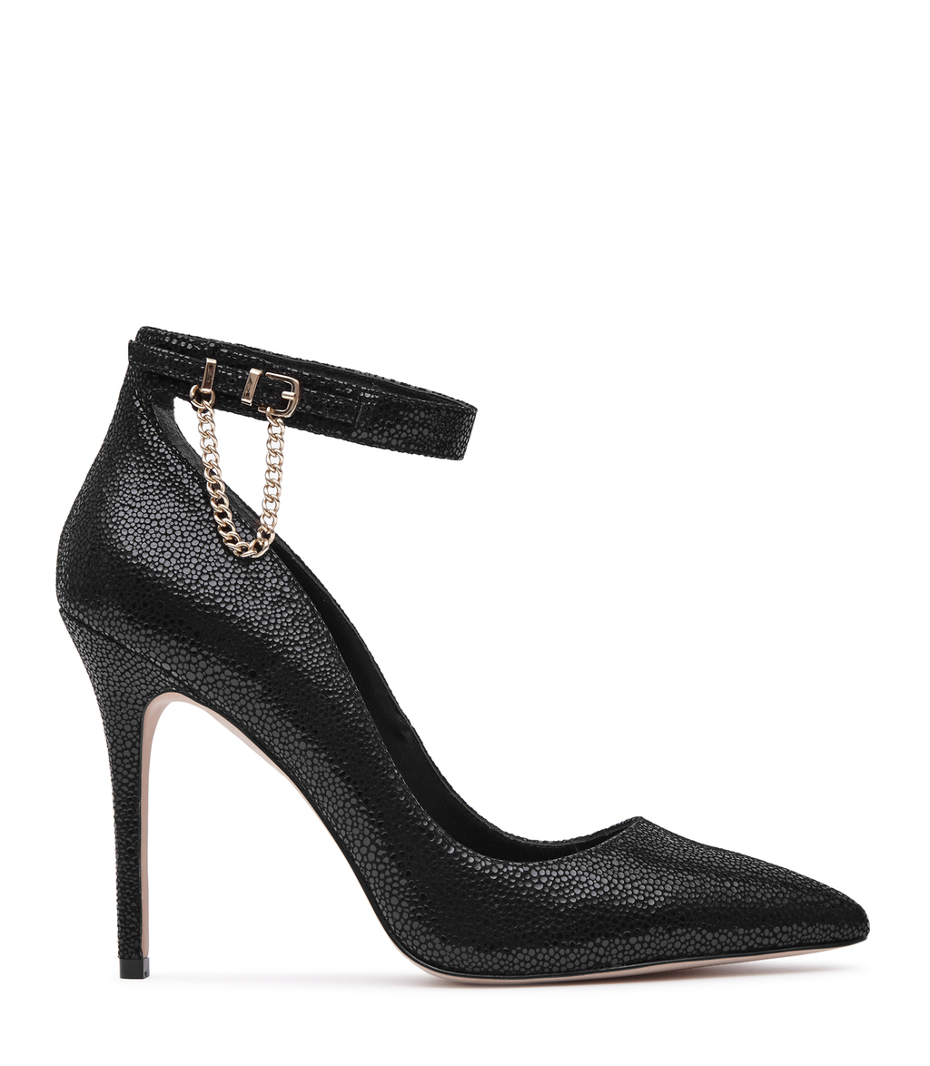 Newlyn Womens Chain Detail Shoes In Black - predominant colour: black; occasions: evening, occasion, creative work; material: leather; ankle detail: ankle strap; heel: stiletto; toe: pointed toe; style: courts; finish: plain; pattern: plain; heel height: very high; season: a/w 2016; wardrobe: highlight