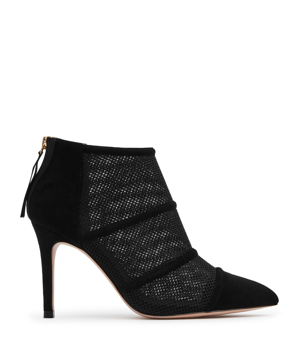 Devon Womens Mesh Panel Boots In Black - predominant colour: black; occasions: evening; material: fabric; heel height: high; heel: stiletto; toe: pointed toe; boot length: ankle boot; style: standard; finish: plain; pattern: plain; season: a/w 2016; wardrobe: event