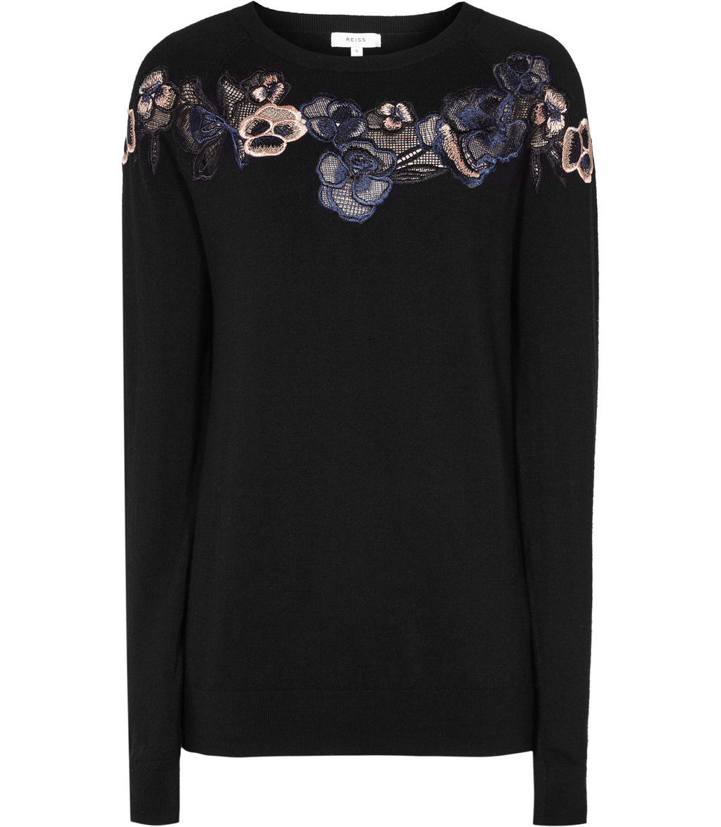 Amelia Womens Embroidered Jumper In Black - style: standard; secondary colour: navy; predominant colour: black; occasions: casual; length: standard; fibres: wool - 100%; fit: slim fit; neckline: crew; sleeve length: long sleeve; sleeve style: standard; texture group: knits/crochet; pattern type: knitted - fine stitch; pattern: florals; embellishment: embroidered; multicoloured: multicoloured; season: a/w 2016; wardrobe: highlight; embellishment location: back, bust