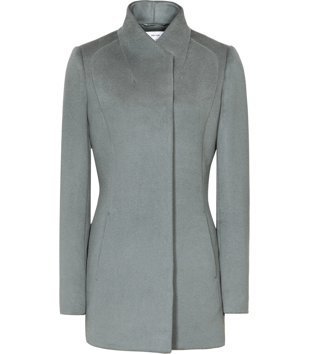 Napoli Womens High Collar Wool Coat In Blue - pattern: plain; collar: funnel; style: single breasted; length: mid thigh; predominant colour: light grey; occasions: casual; fit: tailored/fitted; fibres: wool - 100%; sleeve length: long sleeve; sleeve style: standard; collar break: high; pattern type: fabric; texture group: woven bulky/heavy; wardrobe: basic; season: a/w 2016