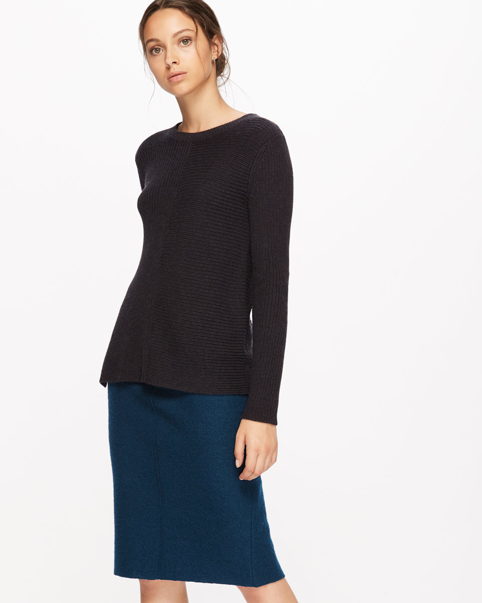 Boiled Wool Pencil Skirt - length: below the knee; pattern: plain; style: pencil; fit: tailored/fitted; waist: mid/regular rise; predominant colour: black; occasions: work; fibres: wool - 100%; pattern type: fabric; texture group: woven light midweight; wardrobe: basic; season: a/w 2016
