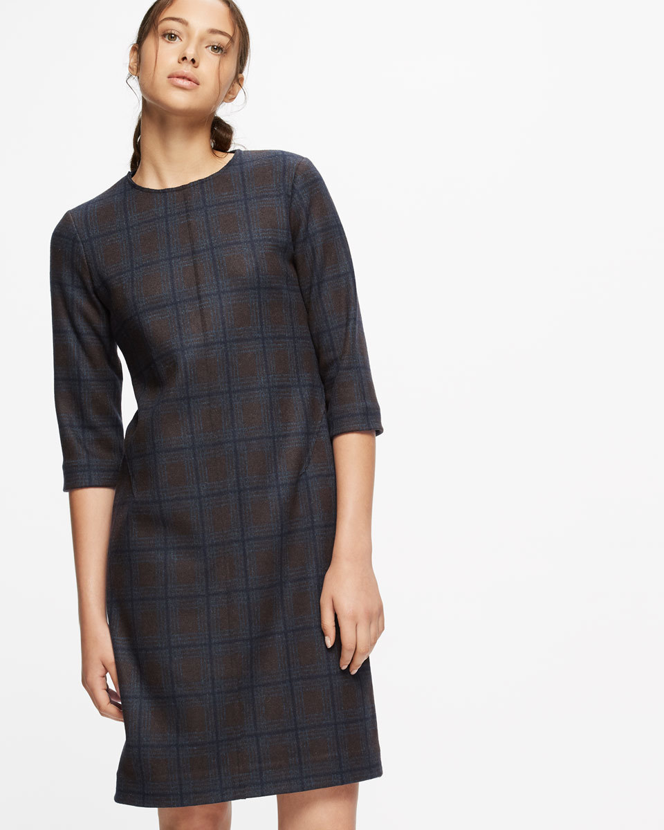 Knitted Milano Check Dress - style: shift; pattern: checked/gingham; predominant colour: navy; occasions: evening; length: just above the knee; fit: body skimming; fibres: wool - mix; neckline: crew; sleeve length: 3/4 length; sleeve style: standard; texture group: knits/crochet; pattern type: fabric; season: a/w 2016; wardrobe: event