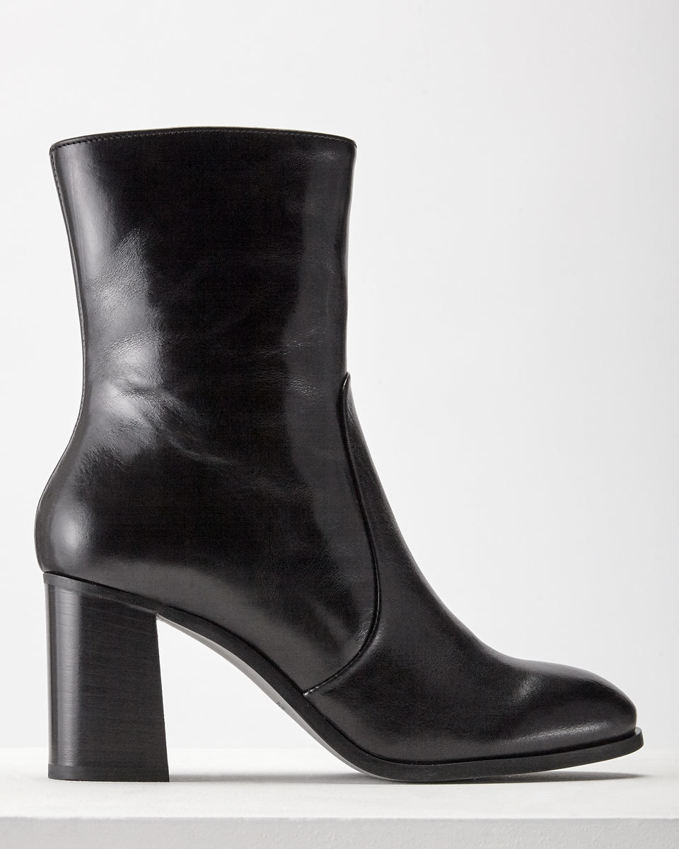 Aysha Midi Boot - predominant colour: black; occasions: casual, creative work; material: leather; heel height: high; heel: block; toe: round toe; boot length: ankle boot; style: standard; finish: plain; pattern: plain; season: a/w 2016; wardrobe: highlight