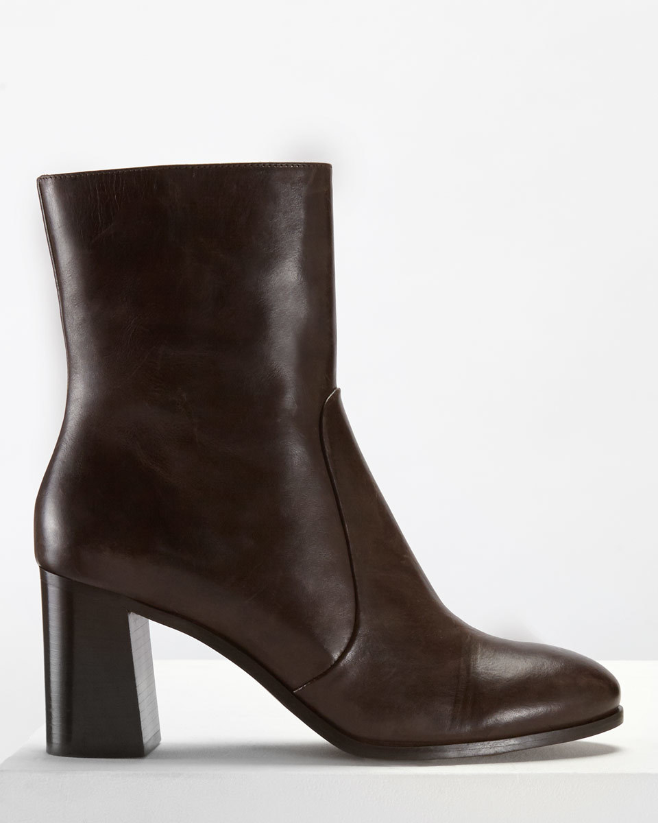 Aysha Midi Boot - predominant colour: chocolate brown; occasions: casual, creative work; material: leather; heel height: high; heel: block; toe: round toe; boot length: ankle boot; style: standard; finish: plain; pattern: plain; season: a/w 2016