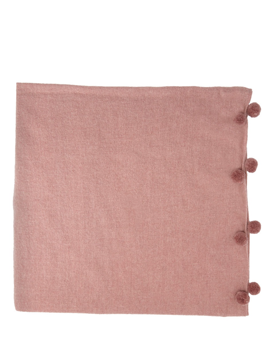 Soraya Wool Pom Edge Scarf - predominant colour: pink; occasions: casual; type of pattern: standard; style: regular; size: standard; material: fabric; embellishment: pompom; pattern: plain; season: a/w 2016; wardrobe: highlight