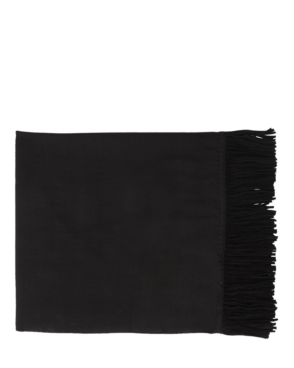 Sienna Italian Fringed Scarf - predominant colour: black; occasions: casual; type of pattern: standard; style: regular; size: standard; material: fabric; embellishment: fringing; pattern: plain; season: a/w 2016