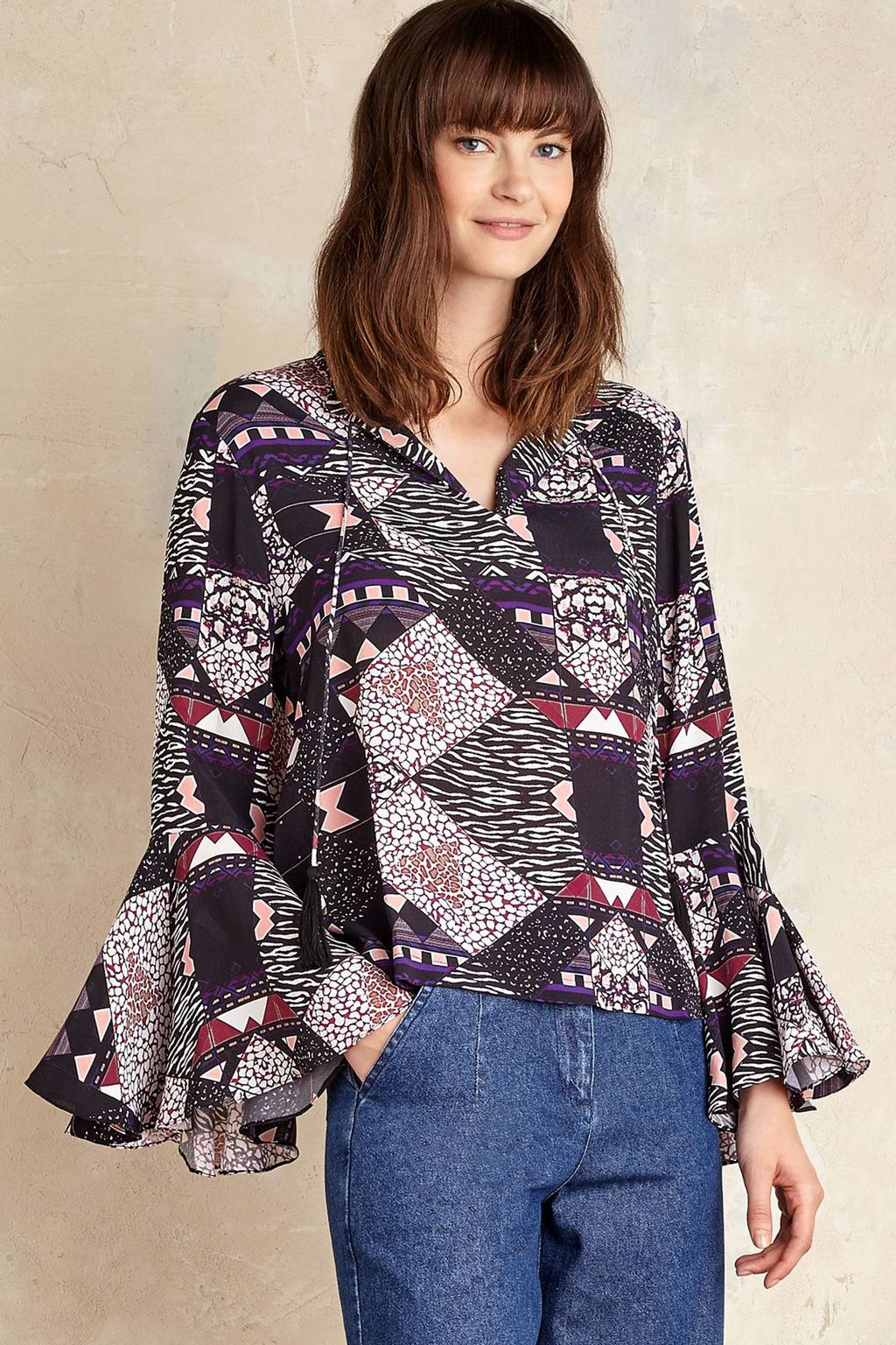 Juneau Printed Blouse, Black - neckline: v-neck; sleeve style: bell sleeve; style: blouse; predominant colour: black; occasions: casual; length: standard; fibres: viscose/rayon - 100%; fit: body skimming; sleeve length: long sleeve; texture group: crepes; pattern type: fabric; pattern size: light/subtle; pattern: patterned/print; secondary colour: raspberry; multicoloured: multicoloured; season: a/w 2016