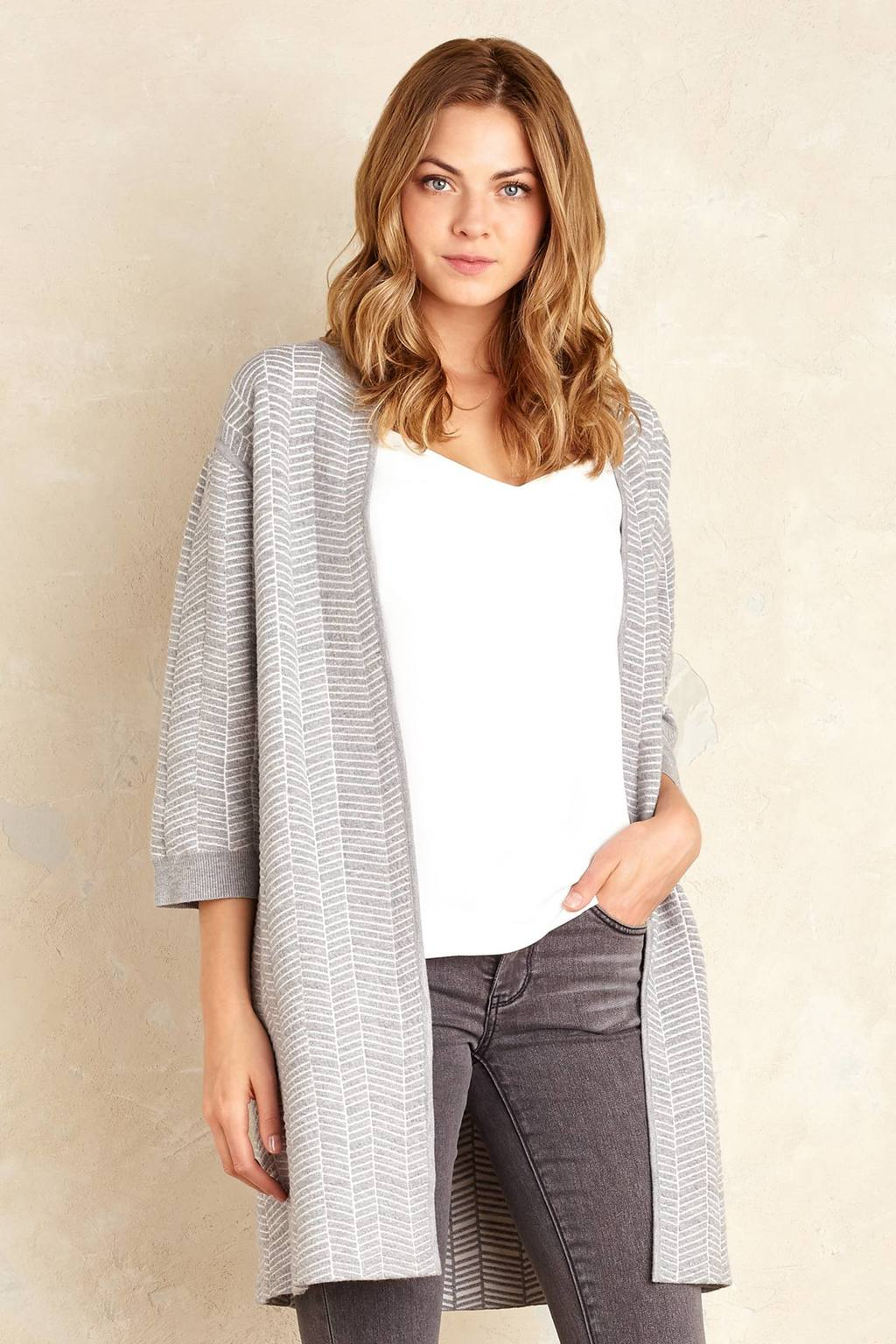 Molly Longline Cardigan, Grey - pattern: plain; neckline: collarless open; style: open front; predominant colour: mid grey; occasions: casual, creative work; fit: standard fit; length: mid thigh; sleeve length: 3/4 length; sleeve style: standard; texture group: knits/crochet; pattern type: knitted - other; pattern size: standard; fibres: viscose/rayon - mix; wardrobe: basic; season: a/w 2016
