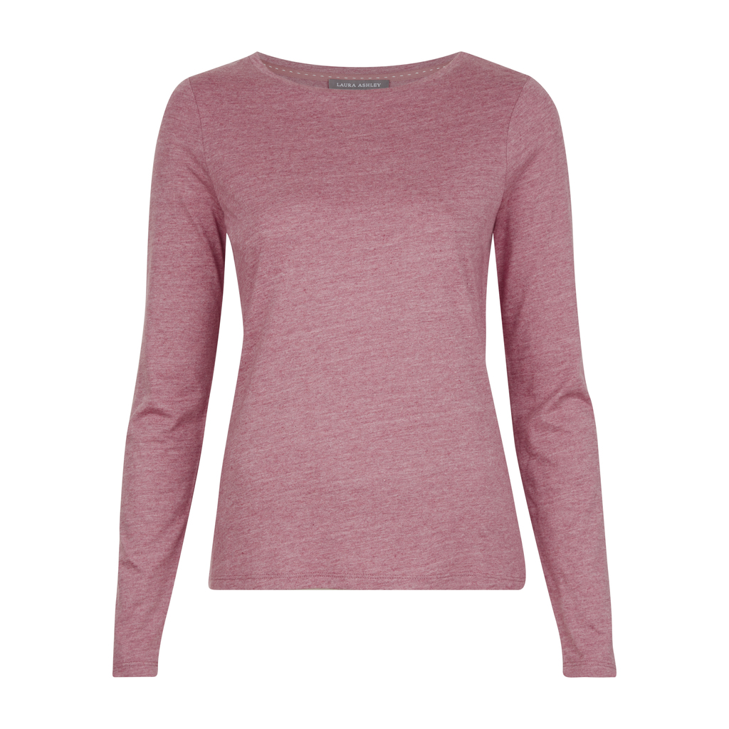 Crew Neck Top - neckline: round neck; pattern: plain; occasions: casual, work, creative work; length: standard; style: top; fibres: cotton - mix; fit: body skimming; sleeve length: long sleeve; sleeve style: standard; pattern type: fabric; texture group: jersey - stretchy/drapey; predominant colour: dusky pink; season: a/w 2016; wardrobe: highlight