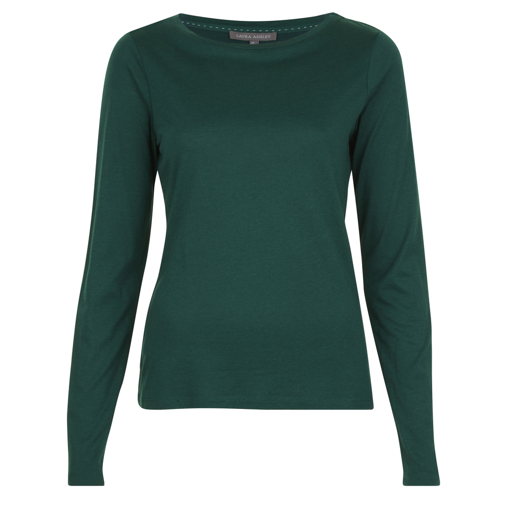 Crew Neck Top - neckline: round neck; pattern: plain; predominant colour: dark green; occasions: casual, work, creative work; length: standard; style: top; fibres: cotton - mix; fit: body skimming; sleeve length: long sleeve; sleeve style: standard; pattern type: fabric; texture group: jersey - stretchy/drapey; season: a/w 2016; wardrobe: highlight