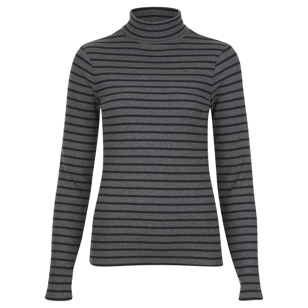 Ribbed Roll Neck Stripe Top - pattern: horizontal stripes; neckline: roll neck; style: standard; predominant colour: mid grey; secondary colour: black; occasions: casual; length: standard; fibres: cotton - mix; fit: slim fit; sleeve length: long sleeve; sleeve style: standard; pattern type: fabric; texture group: jersey - stretchy/drapey; multicoloured: multicoloured; season: a/w 2016; wardrobe: highlight