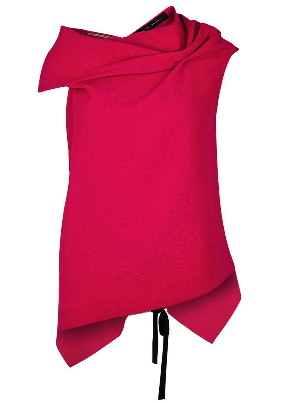 Eugene Fuchsia Open Back Wool Top - neckline: cowl/draped neck; sleeve style: capped; predominant colour: hot pink; secondary colour: black; occasions: evening, creative work; length: standard; style: top; fibres: wool - mix; fit: tailored/fitted; sleeve length: short sleeve; pattern type: fabric; pattern size: standard; pattern: colourblock; texture group: woven light midweight; season: a/w 2016; wardrobe: highlight; embellishment location: back
