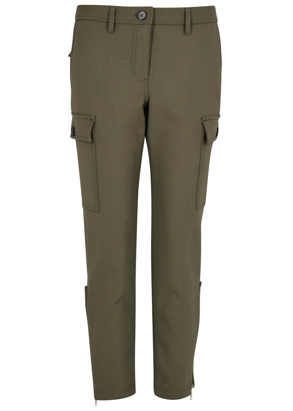Olive Cropped Stretch Wool Trousers - pattern: plain; waist: mid/regular rise; style: cargo; predominant colour: khaki; occasions: casual, creative work; length: ankle length; fibres: wool - mix; waist detail: narrow waistband; fit: slim leg; pattern type: fabric; texture group: woven light midweight; wardrobe: basic; season: a/w 2016; trends: military