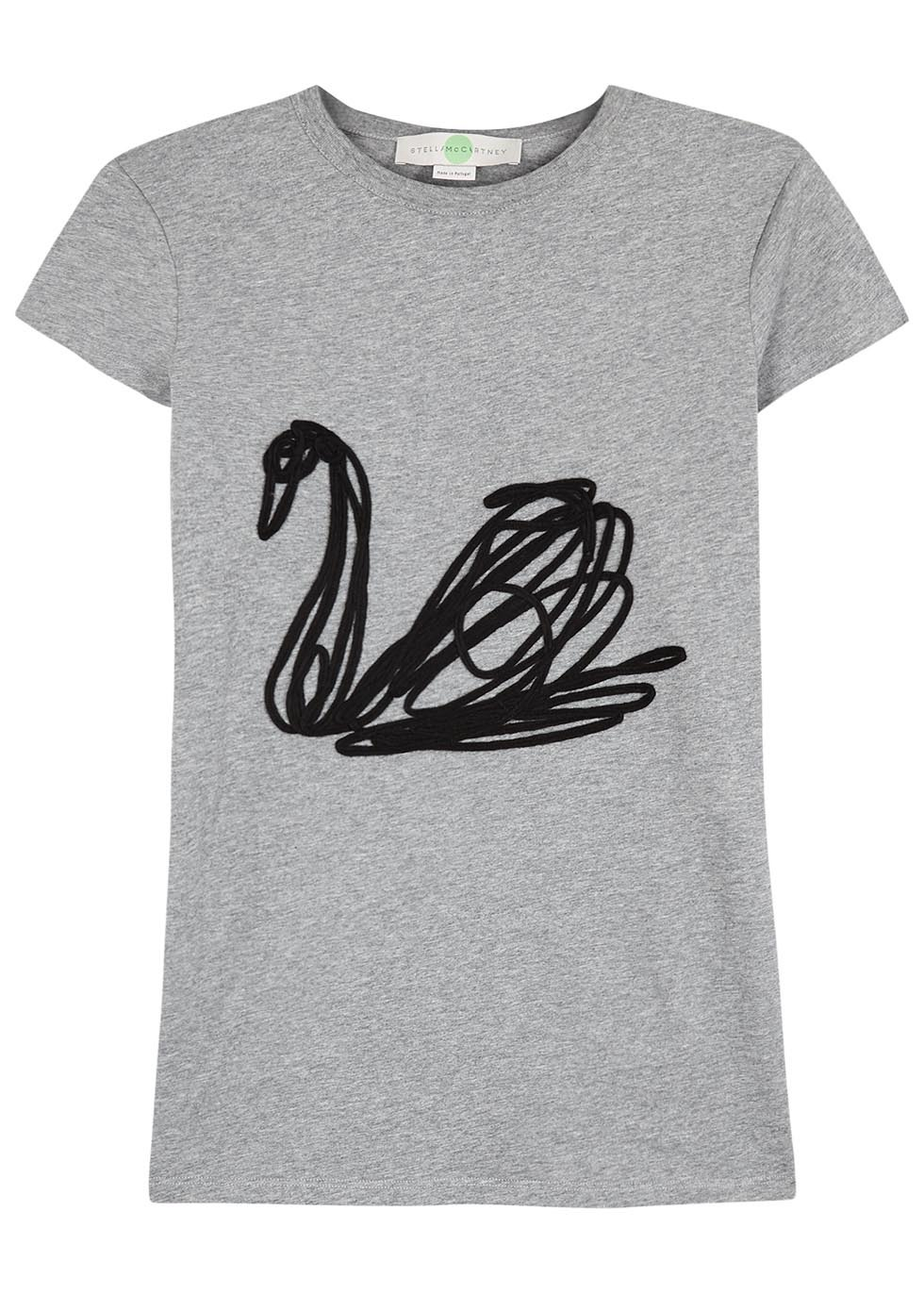 Grey Swan Appliquéd Cotton T Shirt - style: t-shirt; predominant colour: mid grey; occasions: casual; length: standard; fibres: cotton - 100%; fit: body skimming; neckline: crew; sleeve length: short sleeve; sleeve style: standard; pattern type: fabric; pattern: patterned/print; texture group: jersey - stretchy/drapey; season: a/w 2016; wardrobe: highlight