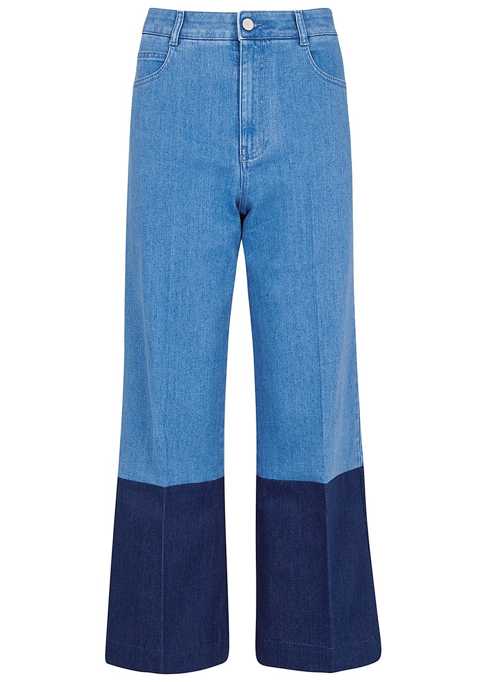 Two Tone Cropped Jeans - waist: high rise; pocket detail: traditional 5 pocket; style: wide leg; secondary colour: navy; predominant colour: denim; occasions: casual; length: ankle length; fibres: cotton - stretch; texture group: denim; pattern type: fabric; pattern: colourblock; pattern size: standard (bottom); season: a/w 2016; wardrobe: highlight