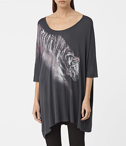 Tora Dreams Tee - sleeve style: dolman/batwing; style: t-shirt; secondary colour: white; predominant colour: charcoal; occasions: casual; neckline: scoop; fibres: cotton - stretch; fit: loose; length: mid thigh; sleeve length: 3/4 length; pattern type: fabric; pattern size: standard; pattern: patterned/print; texture group: jersey - stretchy/drapey; season: a/w 2016; wardrobe: highlight