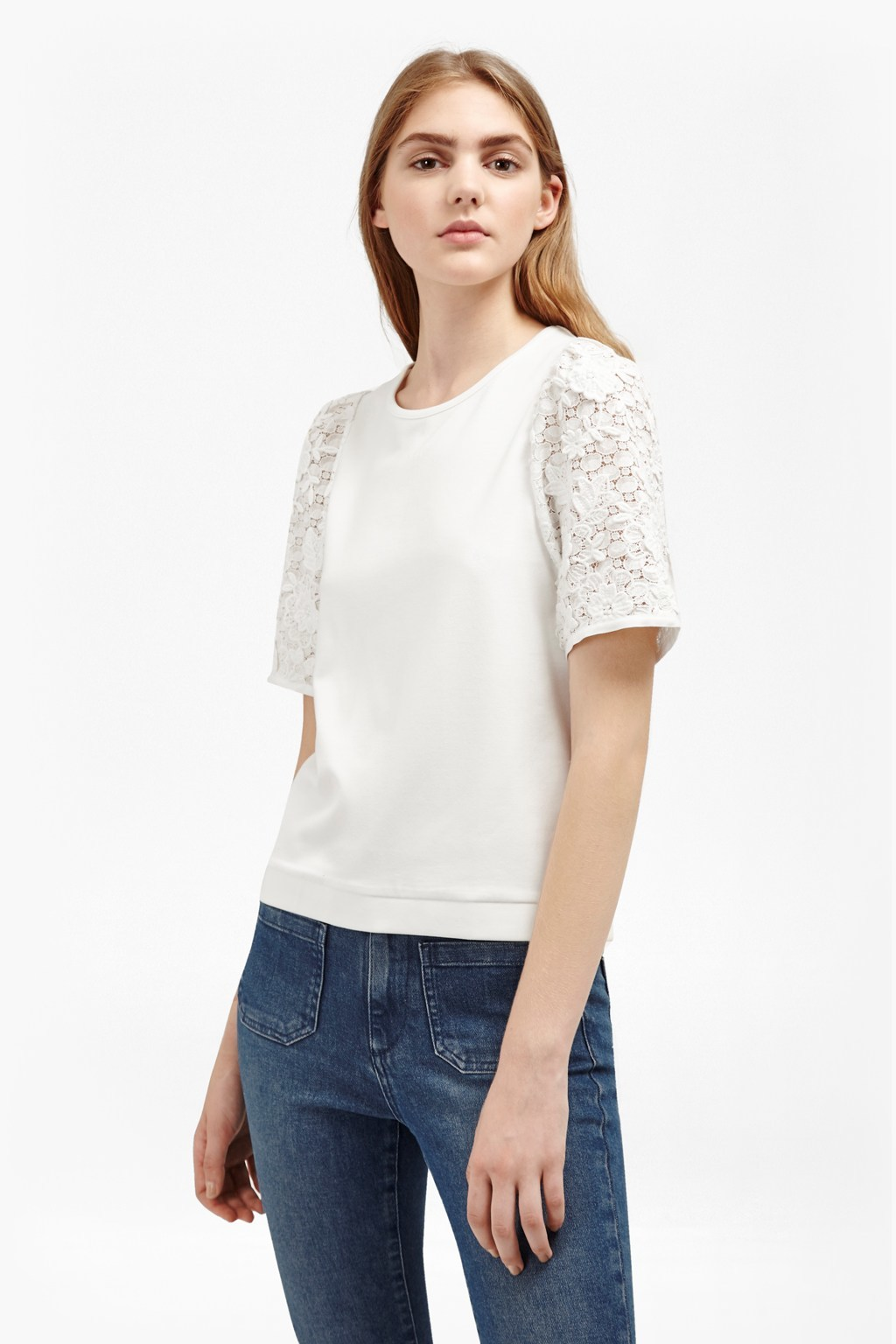 Anna Lace Sleeve Top Winter White - pattern: plain; predominant colour: white; occasions: casual; length: standard; style: top; fibres: viscose/rayon - 100%; fit: body skimming; neckline: crew; sleeve length: short sleeve; sleeve style: standard; pattern type: fabric; texture group: jersey - stretchy/drapey; embellishment: lace; season: a/w 2016; wardrobe: highlight