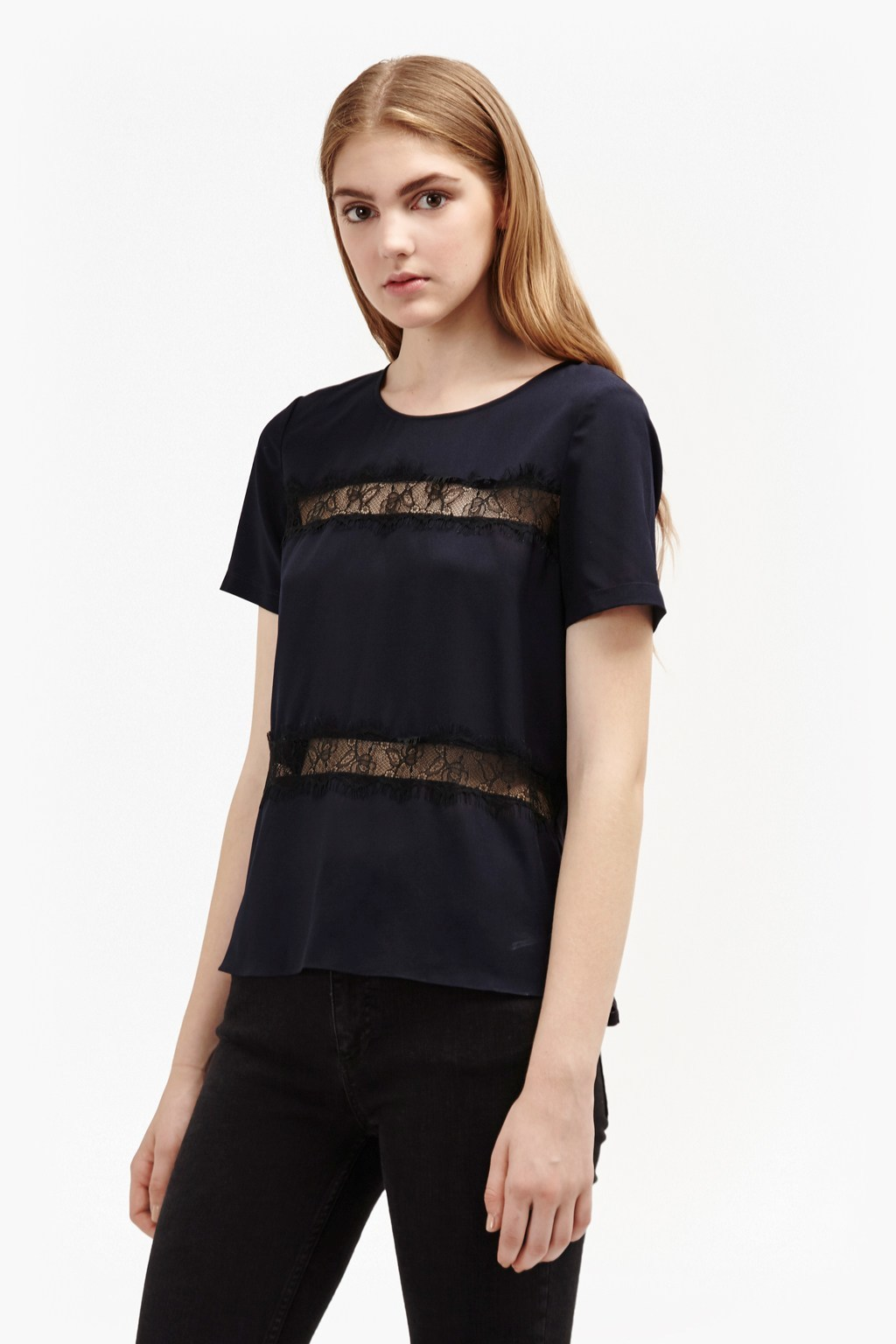 Polly Plains Lace Inserts Top Black - style: t-shirt; predominant colour: navy; occasions: evening, creative work; length: standard; fibres: polyester/polyamide - 100%; fit: straight cut; neckline: crew; sleeve length: short sleeve; sleeve style: standard; texture group: silky - light; pattern type: fabric; pattern size: standard; pattern: patterned/print; embellishment: lace; season: a/w 2016; wardrobe: highlight