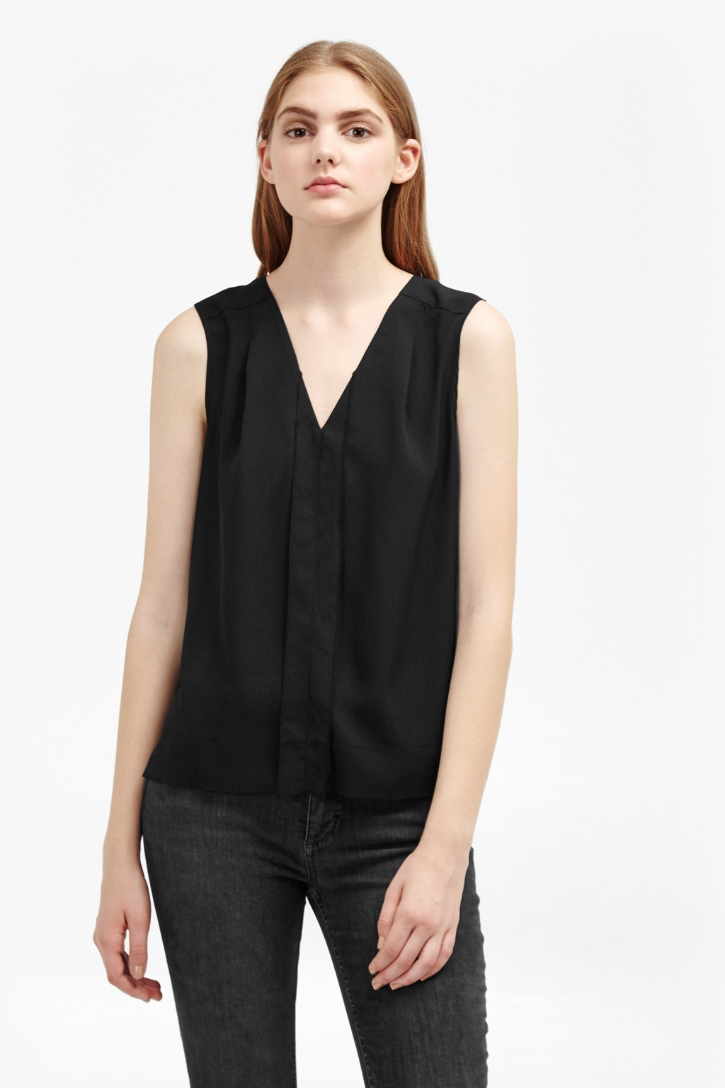 Crepe Light V Neck Top Black - neckline: v-neck; pattern: plain; sleeve style: sleeveless; style: vest top; predominant colour: black; occasions: casual, creative work; length: standard; fibres: polyester/polyamide - 100%; fit: straight cut; sleeve length: sleeveless; texture group: crepes; pattern type: fabric; wardrobe: basic; season: a/w 2016