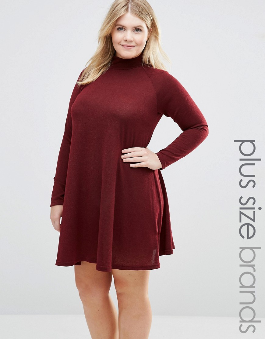 Plus Swing Dress With High Neck Wine - style: trapeze; fit: loose; pattern: plain; neckline: high neck; predominant colour: burgundy; occasions: casual; length: just above the knee; fibres: polyester/polyamide - stretch; sleeve length: long sleeve; sleeve style: standard; pattern type: fabric; texture group: jersey - stretchy/drapey; season: a/w 2016; wardrobe: highlight