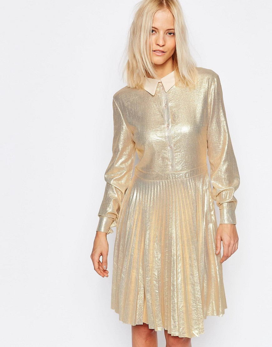 Metallic Shirt Dress With Pleated Skirt Champagne Gold - pattern: plain; predominant colour: gold; occasions: evening; length: on the knee; fit: fitted at waist & bust; style: fit & flare; fibres: polyester/polyamide - 100%; neckline: no opening/shirt collar/peter pan; sleeve length: long sleeve; sleeve style: standard; texture group: silky - light; pattern type: fabric; season: a/w 2016; wardrobe: event