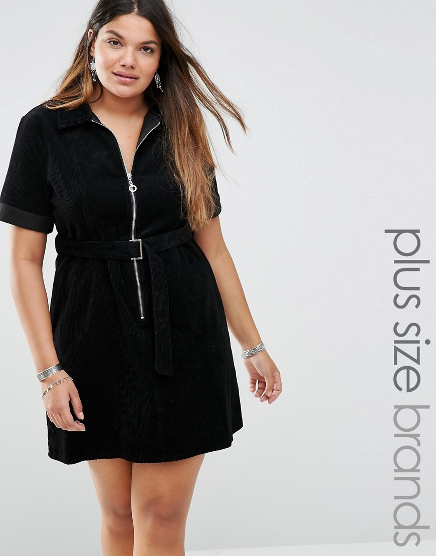 Short Sleeve Zip Front Corduroy Dress With Belted Detail Black - style: shirt; neckline: shirt collar/peter pan/zip with opening; pattern: plain; predominant colour: black; occasions: evening; length: just above the knee; fit: body skimming; fibres: cotton - 100%; sleeve length: short sleeve; sleeve style: standard; texture group: corduroy; pattern type: fabric; season: a/w 2016; wardrobe: event