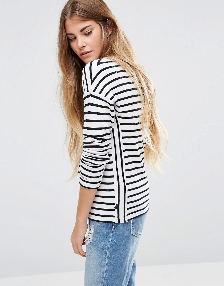 Breton Stripe Long Sleeve Top A Combo A - pattern: striped; predominant colour: white; secondary colour: black; occasions: casual; length: standard; style: top; fibres: cotton - 100%; fit: body skimming; neckline: crew; sleeve length: long sleeve; sleeve style: standard; pattern type: fabric; texture group: jersey - stretchy/drapey; multicoloured: multicoloured; season: a/w 2016; wardrobe: highlight