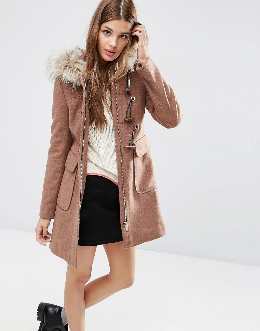Wool Blend Faux Fur Hooded Duffle Coat Dusty Pink - pattern: plain; collar: funnel; back detail: hood; style: duffle coat; length: mid thigh; predominant colour: camel; occasions: casual, creative work; fit: straight cut (boxy); fibres: wool - mix; sleeve length: long sleeve; sleeve style: standard; collar break: high; pattern type: fabric; texture group: woven bulky/heavy; embellishment: fur; season: a/w 2016; wardrobe: highlight