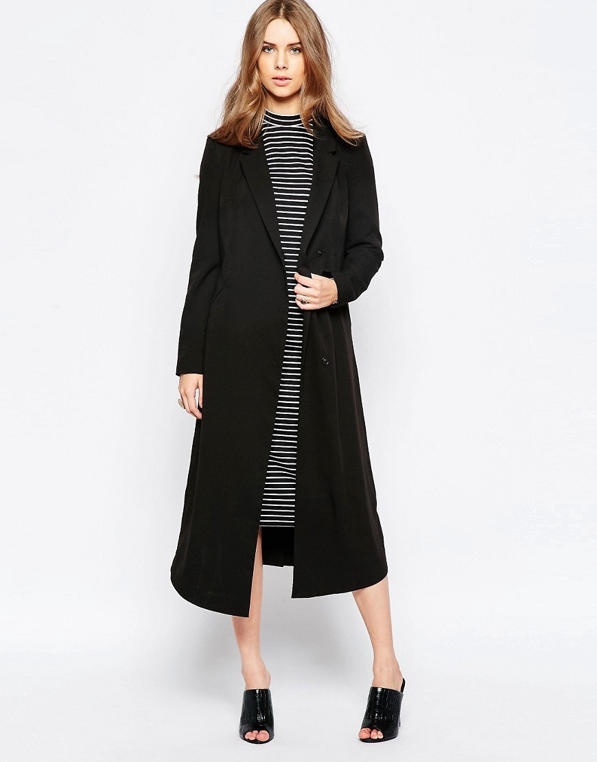 Moves Longline Boyfriend Coat Black - pattern: plain; style: single breasted; fit: slim fit; collar: standard lapel/rever collar; length: calf length; predominant colour: black; occasions: casual; fibres: polyester/polyamide - mix; sleeve length: long sleeve; sleeve style: standard; texture group: crepes; collar break: medium; pattern type: fabric; season: a/w 2016