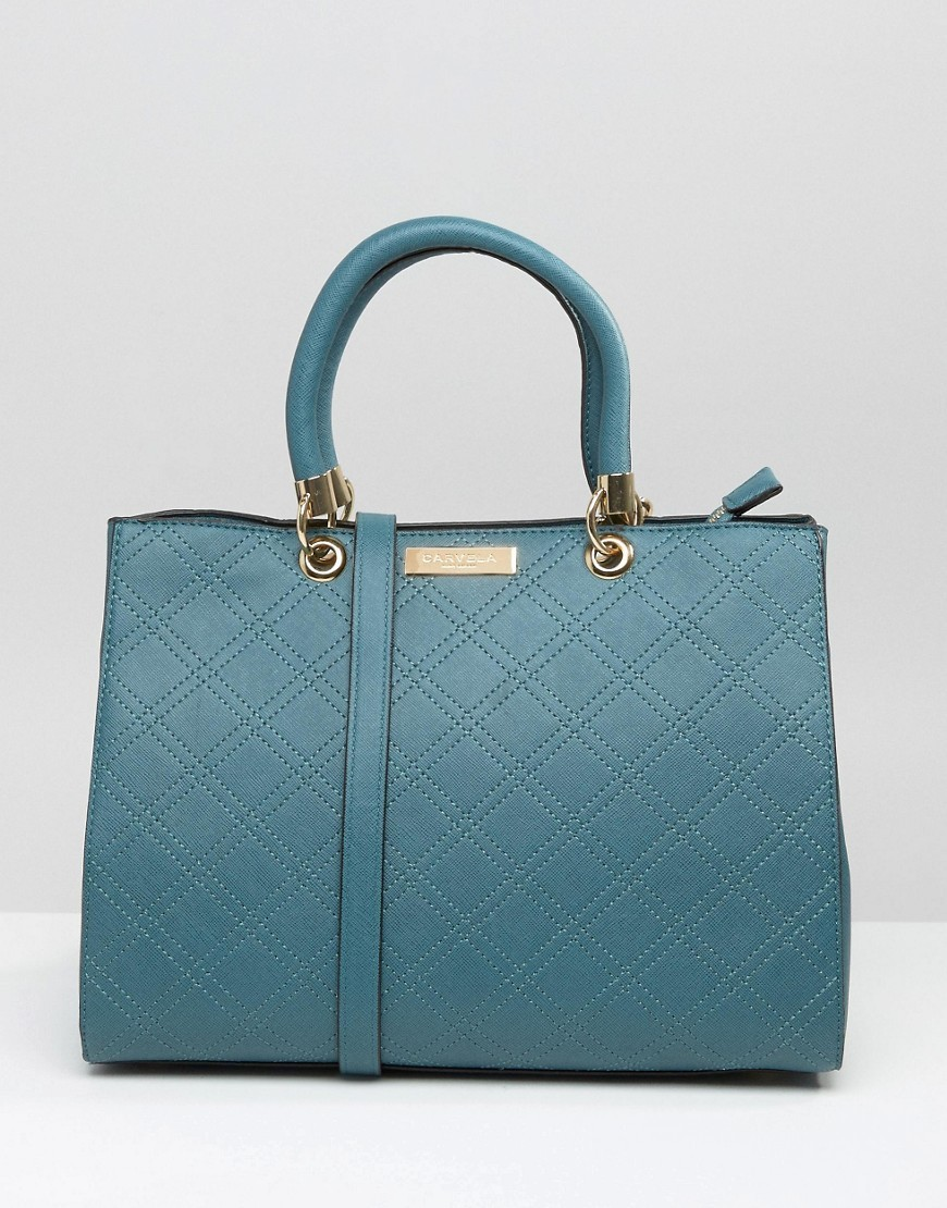 Quilted Tote Bag Teal - predominant colour: denim; occasions: casual; type of pattern: standard; style: tote; length: across body/long; size: standard; material: leather; pattern: plain; finish: plain; season: a/w 2016; wardrobe: highlight