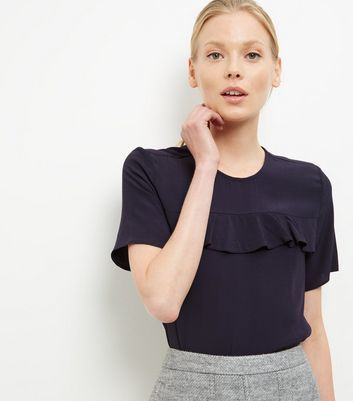 Navy Ruffle Trim T Shirt - pattern: plain; style: t-shirt; predominant colour: navy; occasions: casual; length: standard; fibres: viscose/rayon - 100%; fit: body skimming; neckline: crew; sleeve length: short sleeve; sleeve style: standard; bust detail: tiers/frills/bulky drapes/pleats; pattern type: fabric; texture group: jersey - stretchy/drapey; season: a/w 2016; wardrobe: highlight