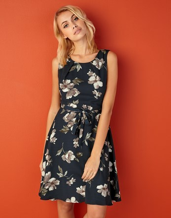 Floral Print Dress - neckline: round neck; sleeve style: sleeveless; waist detail: belted waist/tie at waist/drawstring; secondary colour: white; predominant colour: navy; occasions: evening; length: just above the knee; fit: fitted at waist & bust; style: fit & flare; fibres: polyester/polyamide - 100%; sleeve length: sleeveless; texture group: cotton feel fabrics; pattern type: fabric; pattern size: big & busy; pattern: florals; multicoloured: multicoloured; season: a/w 2016; wardrobe: event