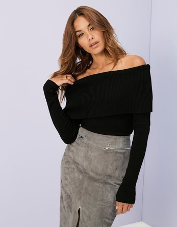 Knitted Bardot Jumper - neckline: off the shoulder; pattern: plain; style: standard; hip detail: draws attention to hips; predominant colour: black; occasions: casual; length: standard; fibres: acrylic - 100%; fit: slim fit; sleeve length: long sleeve; sleeve style: standard; texture group: knits/crochet; pattern type: fabric; season: a/w 2016; wardrobe: highlight