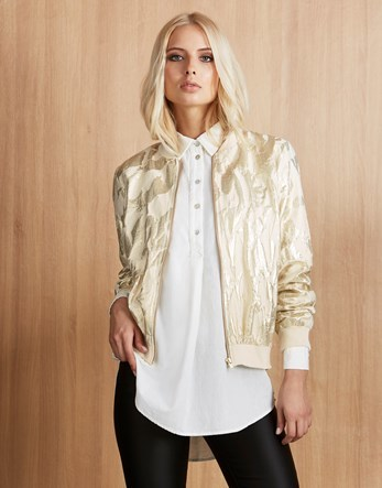 Bomber Jacket - pattern: plain; collar: round collar/collarless; fit: slim fit; style: bomber; predominant colour: gold; occasions: casual, creative work; fibres: cotton - mix; sleeve length: long sleeve; sleeve style: standard; collar break: high; pattern type: fabric; texture group: other - light to midweight; length: cropped; season: a/w 2016; wardrobe: highlight