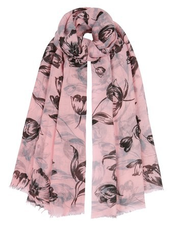 Woven Tulip Print Scarf - predominant colour: pink; secondary colour: black; occasions: casual; type of pattern: heavy; style: regular; size: standard; material: fabric; pattern: florals; season: a/w 2016; wardrobe: highlight