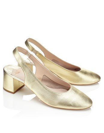 Metallic Sling Back Pumps - predominant colour: silver; occasions: evening; material: leather; heel height: mid; heel: block; toe: round toe; style: slingbacks; finish: metallic; pattern: plain; season: a/w 2016