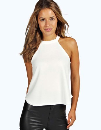 Petite High Neck Strappy Top - pattern: plain; sleeve style: sleeveless; predominant colour: white; occasions: casual; length: standard; style: top; fibres: viscose/rayon - 100%; fit: body skimming; sleeve length: sleeveless; pattern type: fabric; texture group: jersey - stretchy/drapey; neckline: high halter neck; wardrobe: basic; season: a/w 2016