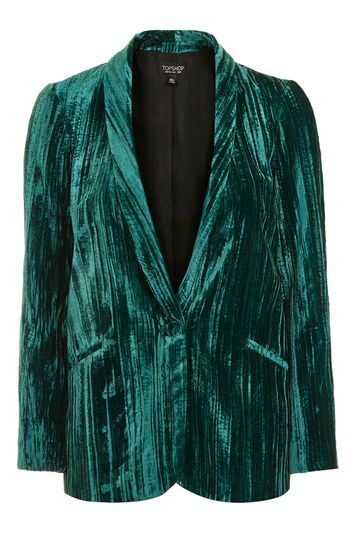 Crinkle Velvet Blazer - pattern: plain; style: single breasted blazer; collar: shawl/waterfall; hip detail: fitted at hip; predominant colour: teal; occasions: evening, creative work; length: standard; fit: tailored/fitted; fibres: polyester/polyamide - 100%; sleeve length: long sleeve; sleeve style: standard; collar break: medium; pattern type: fabric; texture group: velvet/fabrics with pile; trends: fashion girl, pretty girl, rebel girl, metallics; season: a/w 2016; wardrobe: highlight