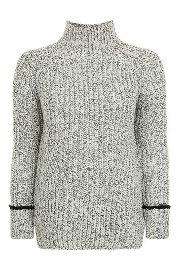 Oversized Tweedy Funnel Jumper - neckline: high neck; style: standard; predominant colour: light grey; secondary colour: black; occasions: casual; length: standard; fibres: acrylic - mix; fit: standard fit; sleeve length: long sleeve; sleeve style: standard; texture group: knits/crochet; pattern type: knitted - big stitch; pattern size: standard; pattern: marl; trends: tomboy girl; wardrobe: basic; season: a/w 2016