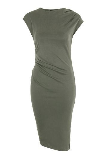 Petite Asymmetric Drape Dress - neckline: low v-neck; sleeve style: spaghetti straps; pattern: plain; predominant colour: khaki; occasions: casual, evening, creative work; length: on the knee; fit: fitted at waist & bust; style: fit & flare; fibres: polyester/polyamide - stretch; hip detail: subtle/flattering hip detail; shoulder detail: subtle shoulder detail; sleeve length: sleeveless; pattern type: fabric; texture group: jersey - stretchy/drapey; trends: glossy girl, rebel girl, tomboy girl; season: s/s 2016; wardrobe: highlight