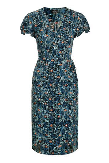 Tall Ditsy Floral Wrap Dress - style: tea dress; neckline: v-neck; sleeve style: capped; predominant colour: navy; secondary colour: coral; occasions: casual, creative work; length: on the knee; fit: fitted at waist & bust; fibres: polyester/polyamide - stretch; sleeve length: short sleeve; pattern type: fabric; pattern size: standard; pattern: florals; texture group: woven light midweight; trends: pretty girl; season: a/w 2016; wardrobe: highlight